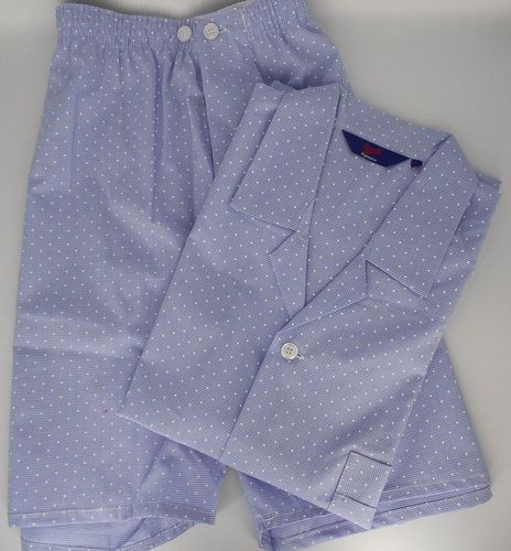 Pyjamas With Shorts - Luxury Lawn Cotton From Ireland - Blue Check With White Dot Detail
